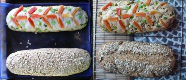 pan blanco con papaya verde y mango